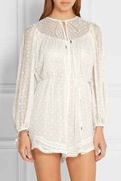 Zimmermann | Belle crochet-trimmed embroidered silk-georgette playsuit | NET-A-PORTER.COM