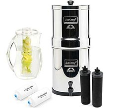 Berkey BK4X2-BB Big Berkey Stainless Steel Water Filtration System- 2 Black Filter Elements and 2 Pf2 with 92 oz. Infuser pitcher