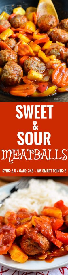 Slimming Eats - Sweet and Sour Meatballs - gluten free, dairy free, paleo, Slimming World and Weight Watchers friendly