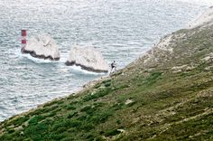 Cliff edge running at The Needles