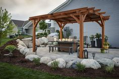 Sonoma Redwood 12x16 Pergola with Kenwood Dining Fire Pit Table
