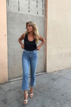 cropped jeans, black tank top and gold sandals #sandals #heels #summer #jeans