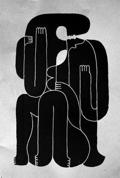 Mod Op Pop Abstract Art - Lvers in black by Remed Op Art, Mode Monochrome, White Art, Black White, Art Graphique, Elements Of Art, Oeuvre D'art, Lovers Art, Art Inspo