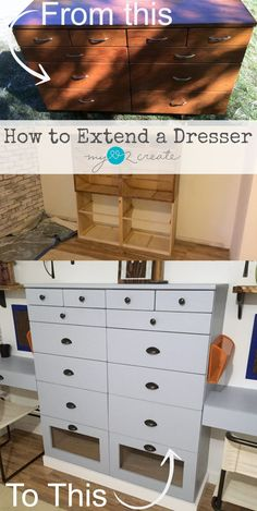 Follow an easy step by step picture tutorial on how to extend a dresser, by MyLove2Create.  Great for making it fit your home and your needs.