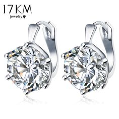 17KM New Fashion Statement bijoux 7 Color Vintage Punk Silver Color Crystal  Flower Stud Earrings for b827eb4e0adc