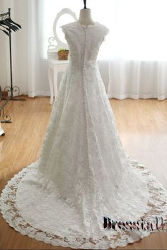 Hey, I found this really awesome Etsy listing at http://www.etsy.com/listing/167448557/a-line-lace-v-neck-wedding-dress-modest