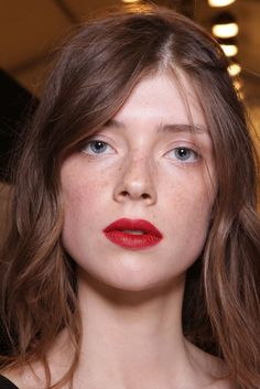Backstage at Burberry Prorsum Spring 2015 - Red lips