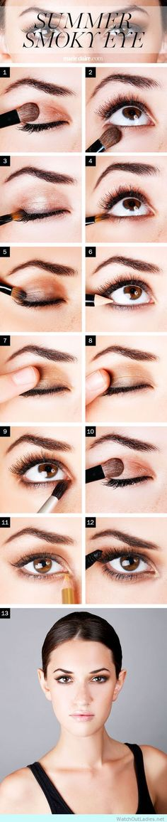 How to bronze smoky - http://watchoutladies.net/18-brown-eyed-make-up-tutorials-to-try-now/