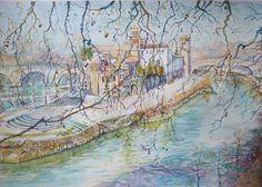 Isola Isola Tiberina Roma paesaggio ad acquerello