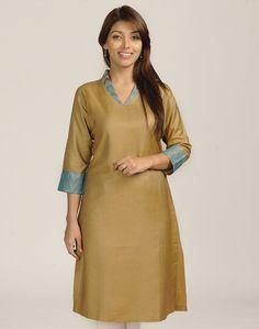 Fabindia.com | Tussar Cotton Neps Brocade Long Kurta