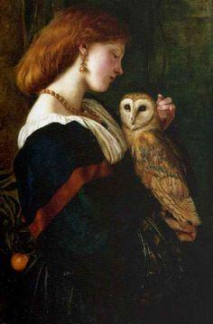pintura del pájaro: Il Barbagianni El búho por Valentine Cameron Prinsep, óleo sobre lienzo de 1863.