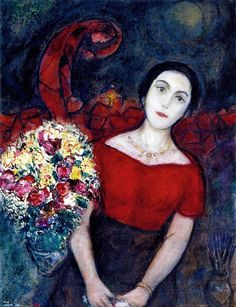 Marc Chagall (Russian-French, 1887-1985) : Portrait of Vava, 1953-56. Private collection. [Valebtina Brodsky, his second wife]