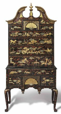 A QUEEN ANNE JAPANNED MAPLE AND PINE BONNET-TOP HIGH CHEST-OF-DRAWERS   SCHOOL OF ROBERT DAVIS, BOSTON, CIRCA 1740   legs restored   86 in. high, 40 5/8 in. wide, 23 in. deep
