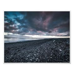 Black Sand Beach Photo Print -nature diy customize sprecial design