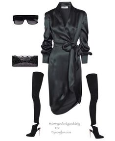 What to Wear To a Fall Wedding Outfit Ideas as a guest, Green silk wrap dress, black thigh high boots, YSL Clutch, celine sunglasses, fashion, style,Winter, Spring, Cold, Wedding Attire, Kim Kardashian style, Kendall Jenner Style, Classy, Trendy, Sexy