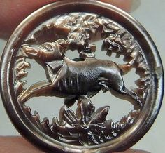 Deeply Carved Dog MOP Button