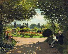 CLAUDE MONET : Adolphe Monet lisant dans le jardin, 1866