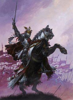 m Fighter Hvy Armor Helm Cloak Sword Horseback eastern border hills Here comes the Cavalry lg Fantasy Warrior, Fantasy Rpg, Dark Fantasy, Warhammer Fantasy, Total Warhammer, Medieval Art, Medieval Fantasy, Fantasy Artwork, Vikings