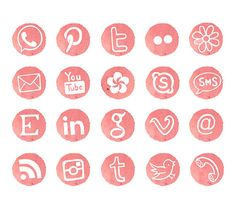 Social Media Icons Blog Buttons Watercolor by SwiejkoForPrint