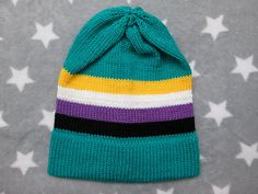 Knit Pride Hat  Nonbinary Pride  Turquoise Slouchy Beanie