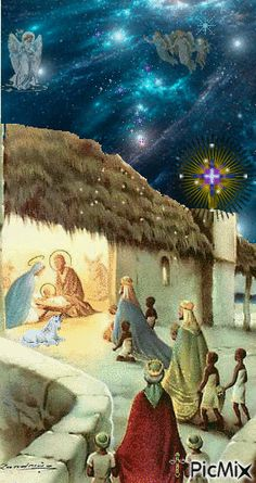 Three Wise Men bringing presents to Baby Jesus. Merry Christmas Gif, Christmas Nativity, Christmas Past, Vintage Christmas Cards, Vintage Holiday, Christmas Pictures, Christmas Greetings, Christmas Holidays, Christmas Jesus
