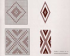 Tejidos del Campo: Diseños en telar mapuche o de peine rigido Seed Bead Patterns, Weaving Patterns, Mosaic Designs, Geometric Designs, Peyote Stitch, Cross Stitch, Inkle Weaving, Tear, Mug Rugs