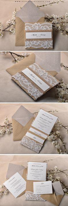 Lace Wedding Invitation #vintagewedding #weddingideas