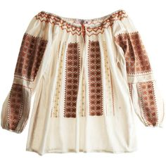CALYPSO St. Barth Romanian Blouse (155 BRL) ❤ liked on Polyvore featuring tops, blouses, shirts, blusas, women, peasant shirt, embroidered top, peasant tops, tie front shirt and brown top