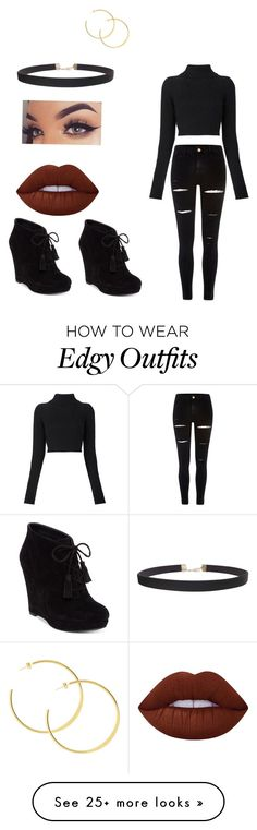 """""""Edgy / Sexy style"""" by bayliemazyck on Polyvore featuring Jessica Simpson, Humble Chic, Lime Crime, Balmain and River Island"""