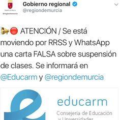 OJo... #bulo sobre suspensión de clases en #Murcia