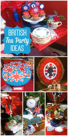 This Royal High Tea features the Union Jack, double decker buses and fascinator hats!  See more party ideas at CatchMyParty.com!