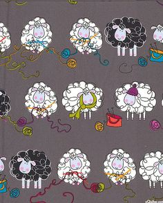Kanvas by Benartex Knitting Sheep on Dark Gray by KnitOneQuiltTwo Knitting Humor, Crochet Humor, Sheep Drawing, Sheep Fabric, Sheep Crafts, Flannel Quilts, Sheep Art, Knit Art, Sheep And Lamb