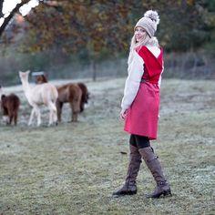 Warm & cozy with KUKLA tom&cherry photographer: model: HMUA: location: Fall Looks, Warm And Cozy, Vienna, Sustainable Fashion, Style Fashion, Wrap Dress, Cherry, Women Wear, Street Style