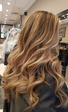 Another day another balayage. This was briannas fourth application. Just beautiful 😍😍 echair Curled Hairstyles, Hair And Nails, Curls, Long Hair Styles, Bride, Blondes, Wallets, Daughter, Beauty