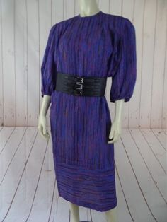 LANVIN PARIS NY Dress 10 Vintage Polyester Mod Purples Dynasty Retro Shift   #Lanvin #Shift #Casual