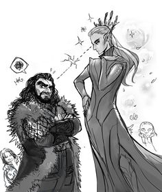 I love how Thranduil's like 'prettier than you' and Throin's like 'I'm going to f-ing kill you in your sleep I swear to God!'.