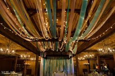 "Pink and Teal, ""Ribbon and Glow"" reception decor by Southern Event Planners."