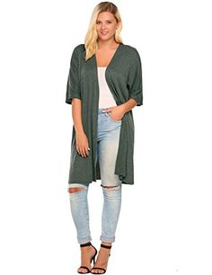 IN'VOLAND Women's Plus Size Elegant Lady Open Long Maxi Cardigan Casual Summer Cardigans