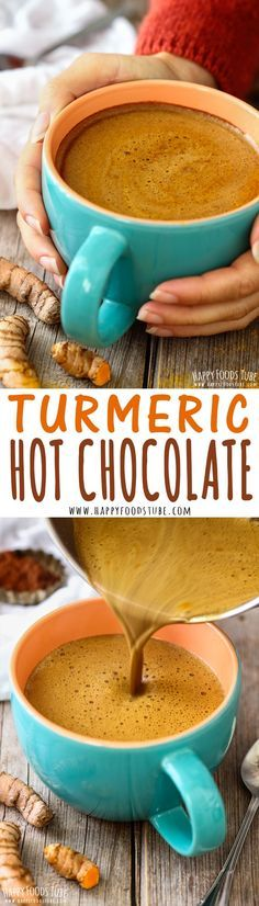 Love hot chocolate but looking for healthier option? Try Turmeric hot chocolate!… Love hot chocolate but looking for healthier option? Try Turmeric hot chocolate! This golden drink has anti-inflammatory properties and can be enjoyed in 5 minutes! Yummy Drinks, Healthy Drinks, Healthy Snacks, Healthy Eating, Yummy Food, Vegan Lunches, Vegan Snacks, Vegan Dinners, Smoothie Drinks