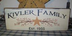 CUSTOM FAMILY EST. STAR BERRIES PRIMITIVE SIGN SIGNS