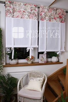 House Plants Decor, Plant Decor, Curtains With Blinds, Valance Curtains, Shabby Cottage, Shabby Chic, Rideaux Design, Hidden Kitchen, Living Room Designs