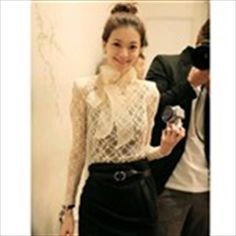 Graceful Stand Collar Big Bowknot Embellished Long Sleeve Solid Color See-Through Lace Women's Blouse Cheap Blouses, Blouses For Women, My Unique Style, Sheer Blouse, Blouse Dress, Sammy Dress, Stylish Girl, Korean Fashion, Japanese Fashion