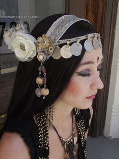 Belly Dance Headpiece   Tribal Fusion Belly Dance Headpiece Lily by theverdantmuse on Etsy