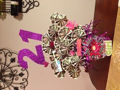 21st Birthday-  Money Basket.  Great gift idea!  Money tree!