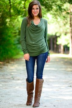 Knit cowl neck top $37