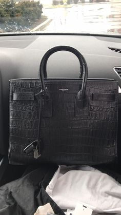 88d853526f Black YSL Saint Laurent Sac de Jour Crocodile Embossed Leather Yves Saint  Laurent Bags, Back