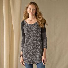 """BED OF ROSES PULLOVER--Super-stylized roses take center stage on this cozy knit pullover with a wide neck and a tunic length perfect for layering over tanks and leggings. Patchwork sleeves, shirttail hem. Cotton, polyester, rayon. Machine wash. Imported. Sizes XS (2), S (4 to 6), M (8 to 10), L (12 to 14). Approx. 31""""L."""