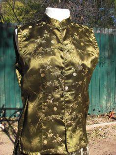 Olivgrün und Gold ärmellos chinesischen Stil Shirt von vintage505