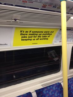 We pick up the trail at an anarchist magazine, Strike! One of the spoof job adverts that appeared after New Year on London tube trains. Underground Tube, London Underground, Welcome Back To Work, Tube Train, Coaching, Poll Results, Guerilla Marketing, London Bus, Things To Do In London