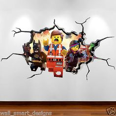 LEGO MOVIE CRACKED WALL Explosion Full Colour Wall Art Sticker Decal Boy Bedroom